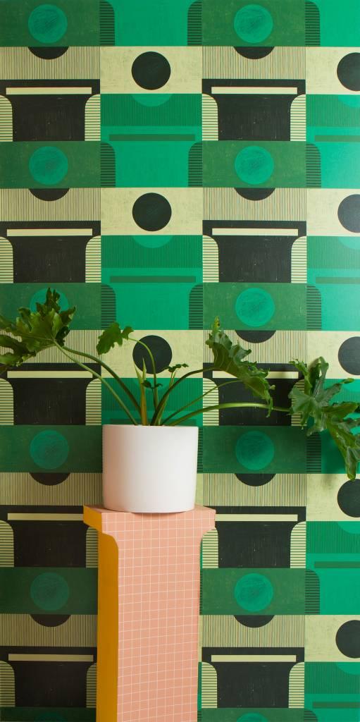 """New Hat Plinth Wallpaper (27"""" x 30 ft. Roll) Bottle Green"""
