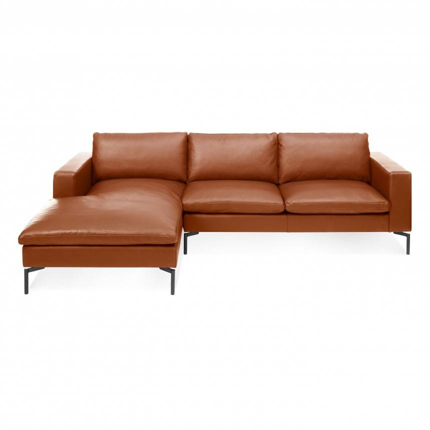 Blu Dot New Standard Sofa W/ Left Arm Chaise Leather