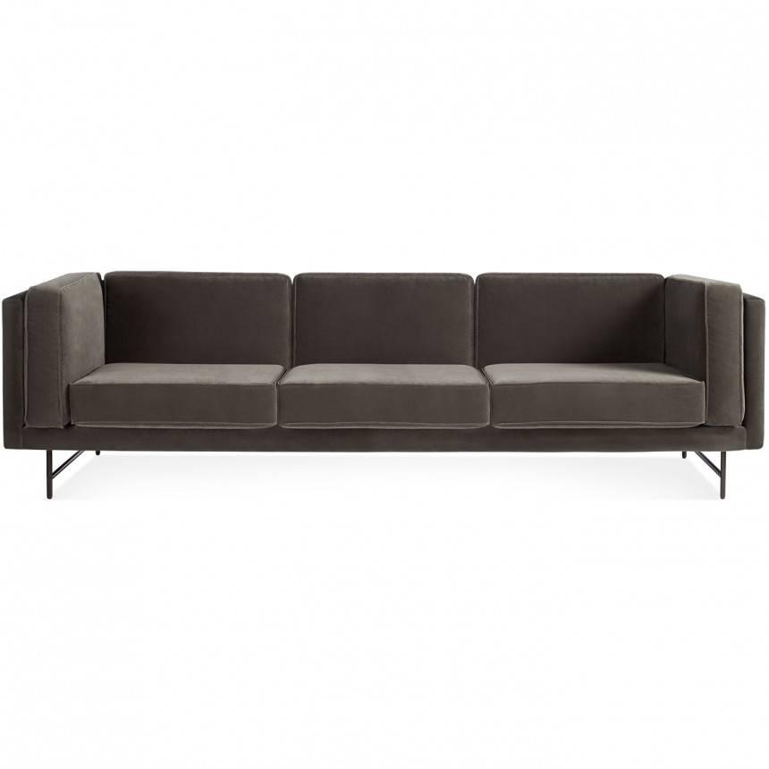 Blu Dot Bank Mink Velvet Sofa