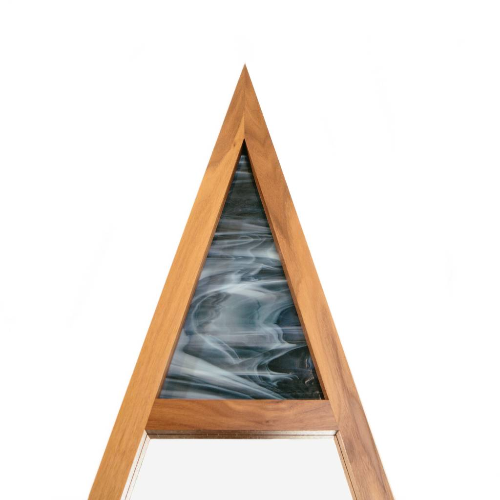 Alex Drew & No One Scale Mirror, Walnut with Blue Stained Glass