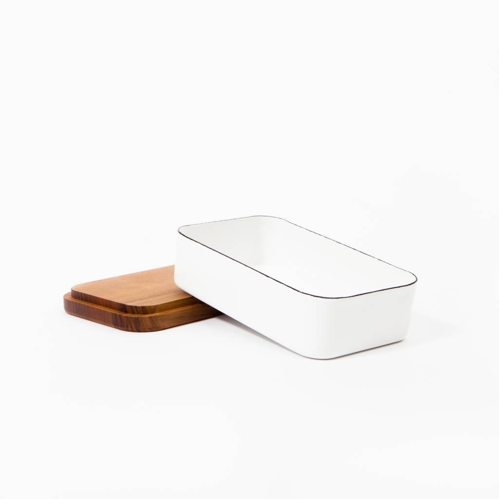 Saikai Enamel Butter Case with Wood Base by Noda Horo