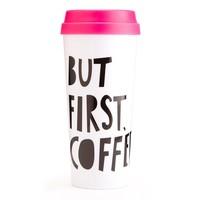 TASSE HOT STUFF THEMAL MUG BUT FIRST COFFEE