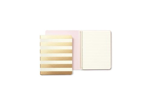 KATE SPADE SPIRAL NOTEBOOK GOLD STRIPE