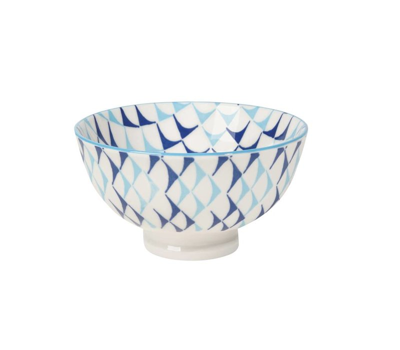 BOWL STAMPED BLUE TRIANGLES