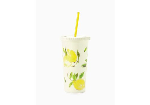 KATE SPADE TUMBLER WITH STRAW- CITRON