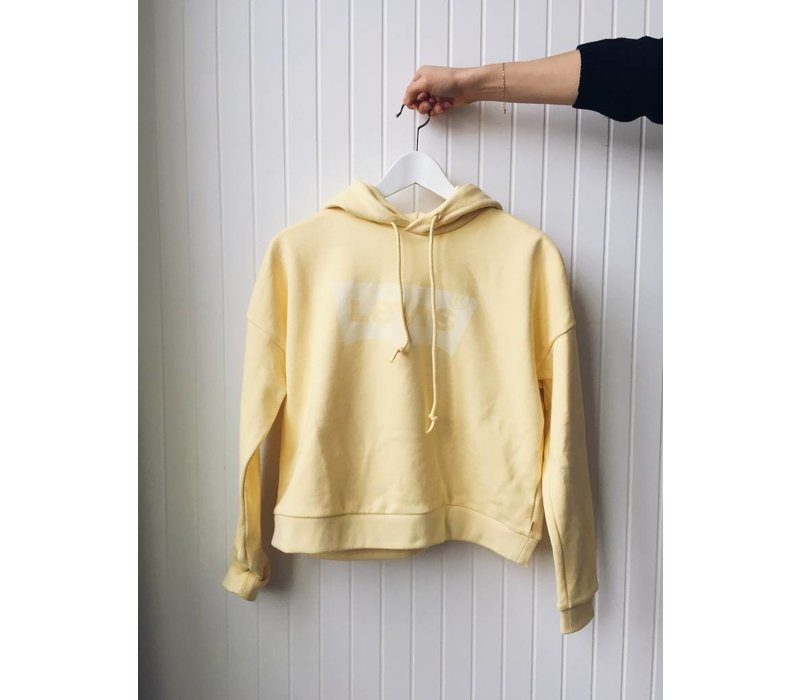 HOODIE CROPPED GRAPHIC- BATWING YELLOW