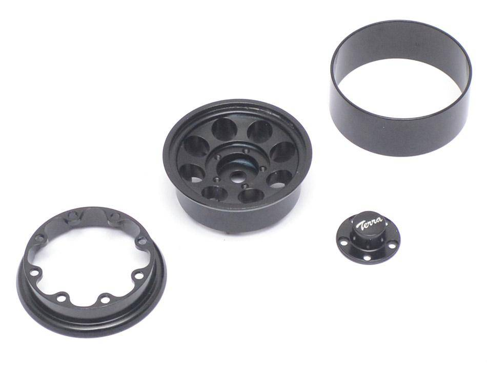 Boom Racing BRW780906BK 1.55 Terra Classic 8-Hole Aluminum Beadlock Wheels w/ 3mm Wideners (2) Black by Boom Racing