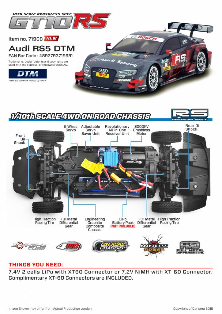 Carisma CIS75268 M40S Audi RS5 #15 4wd 1/10 Electric R/C Car by Carisma