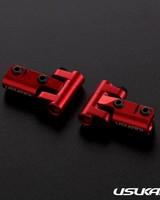 Usukani US88144-R V2 Front upper arm set/0-5mm Adjustable Caster/2pcs-2.5mm (RED) by Usukani