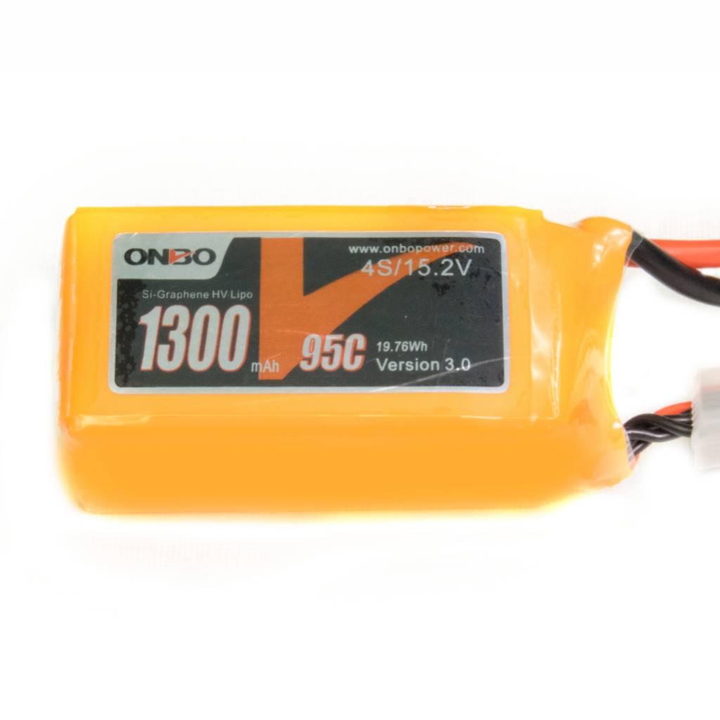 Onbo OP1300954SSIGRHV 1300mAh 4S 15.2V 95C SI-Graphene HV Lipo Battery by Onbo
