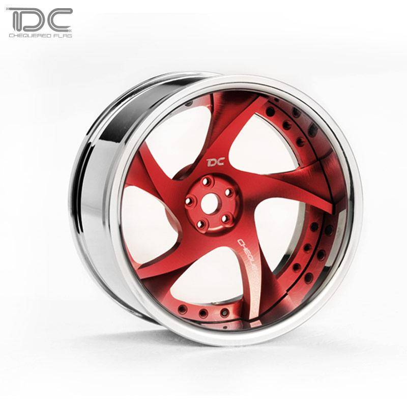 Team DC DCA-0024 1:10 DC-RW Aluminum Drift WHEEL OFFSET +6/+9 CHANGEABLE FOR DRIFT (4PCS) Red by Team DC