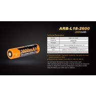 Fenix ARB-L18-2600 Rechargeable Battery 18650  3.6V 2600mAh