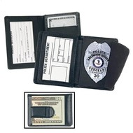 STRONG LEATHER CO Side Open Badge Case with Credit Card Slots