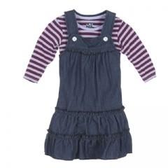 KicKee Pants Kickee Pants Denim Dress with Sleeves Tundra