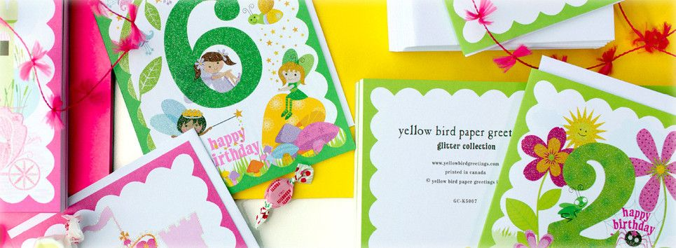 Yellow bird paper greetings Yellow Bird Glitter Card