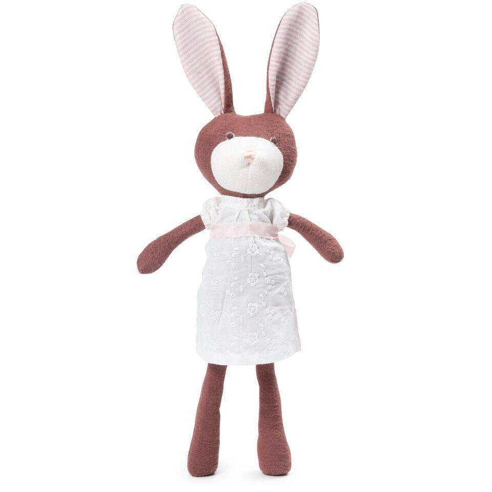 Hazel Village Stuffed Animal Zoe Rabbit in White Dress
