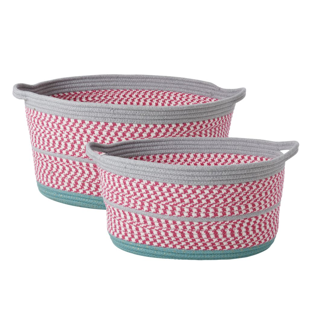 Rice Oval Rope Storage Baskets Pink and Grey - Set of 2