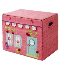 Rice Medium Foldable Toy Basket Girls Pink House Design