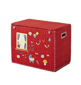 Rice Small Foldable Toy Basket Red House Design