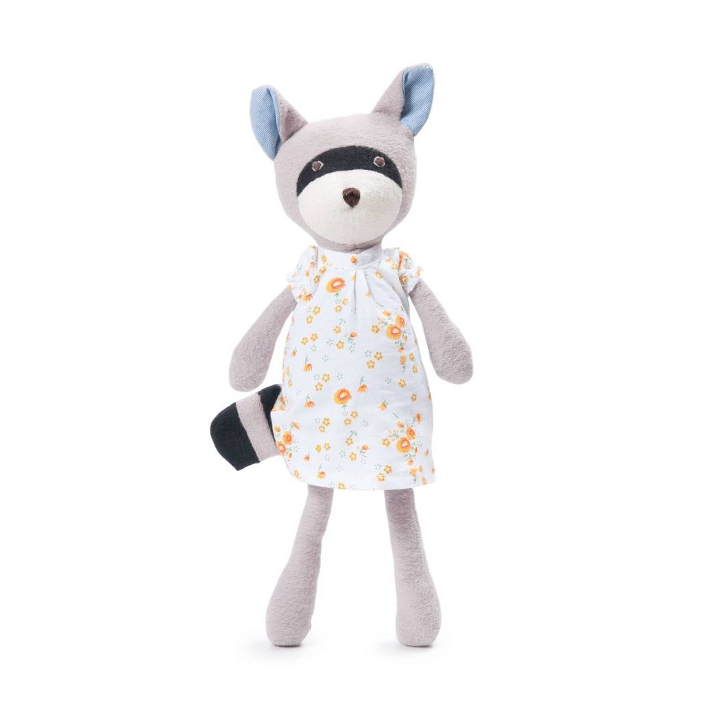 Hazel Village Stuffed Animal Gwendolyn Raccoon in Primrose dress