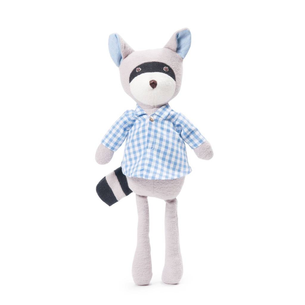 Hazel Village Stuffed Animal Max Raccoon Gingham Shirt
