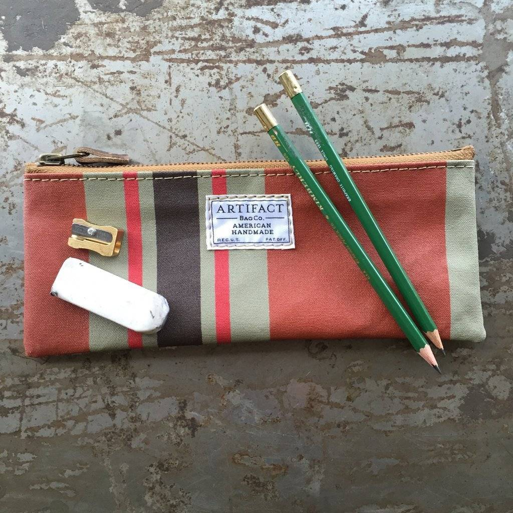 Artifact Pencil Case Stripes Terracotta
