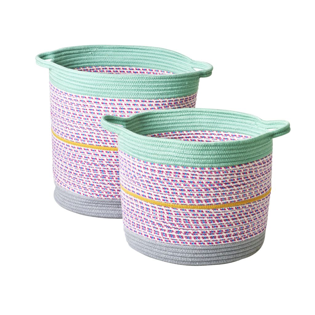 Rice Round Rope Storage Baskets Multicolor - Set of 2
