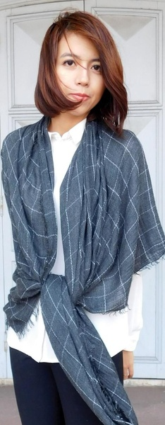 Paisley Road Relaxed Grid Scarf Grey