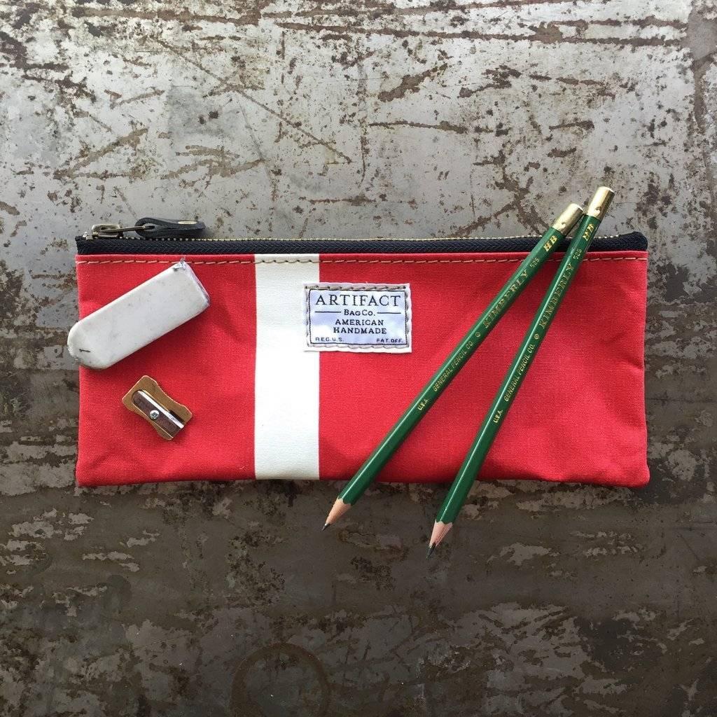 Artifact Pencil Case Stripes Crimson