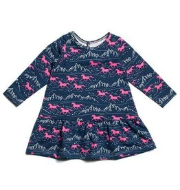 Winter Water Factory Dakota Baby Dress Wild Horses Navy/Pink