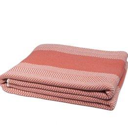 In2Green Blanket Herringbone stripe coral/milk