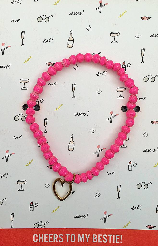 31Bits Love and Friendship Bracelet Bright Pink