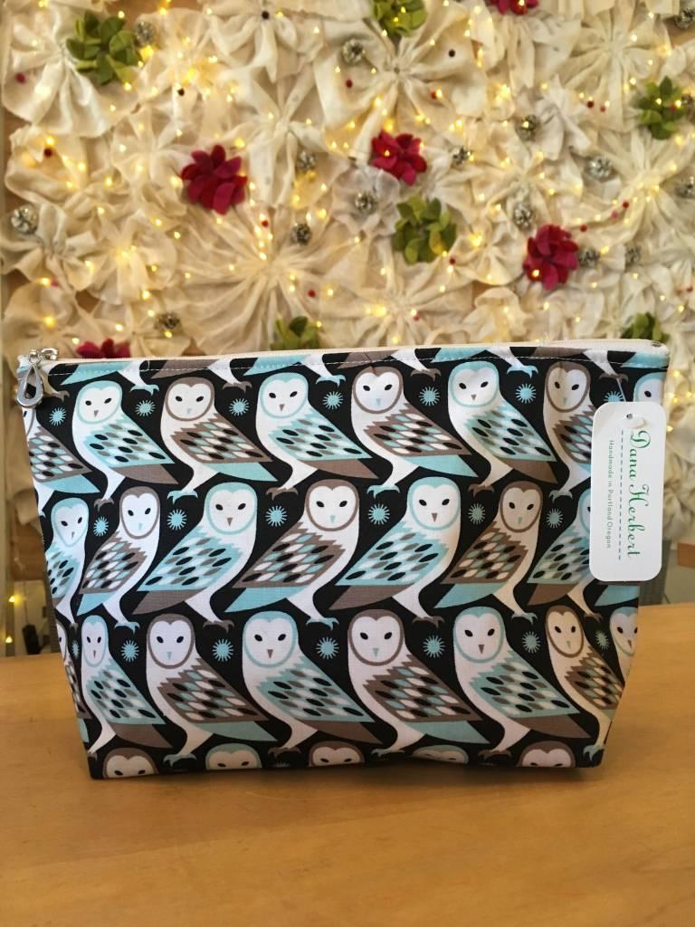 Dana Herbert Accessorries Large Cosmetic Bag Charcoal Owls
