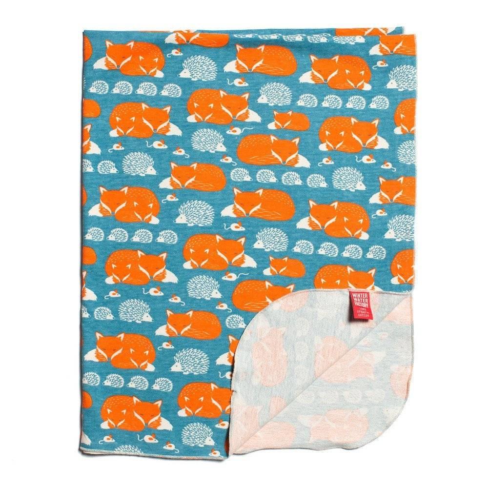 Winter Water Factory Lightweight Blanket Foxes & Hedgehogs