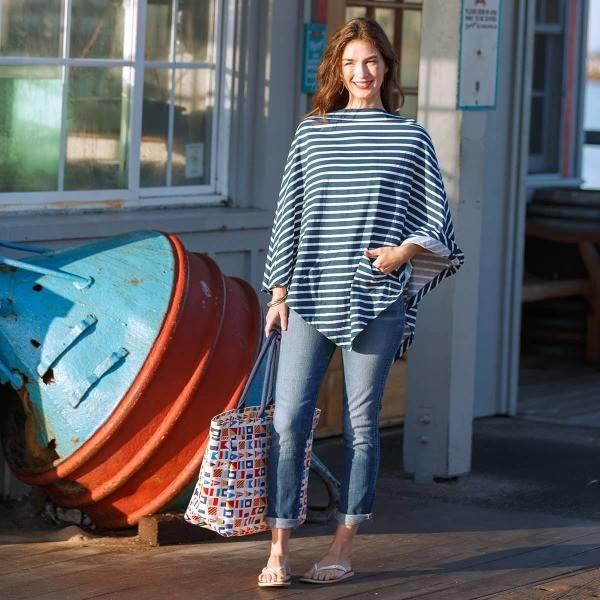 Rockflowerpaper Bateau Stripe Navy & White Poncho OS