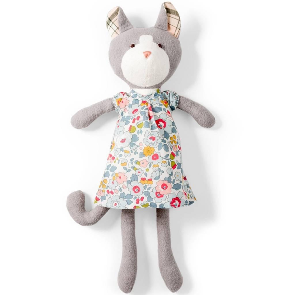Hazel Village Stuffed Animal Gracie Cat in Liberty sweet rose dress
