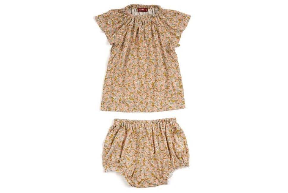 Milkbarn Bamboo dress and bloomer set Rose Floral