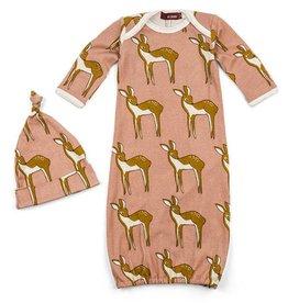 Milkbarn Gown and hat set Pink Deer