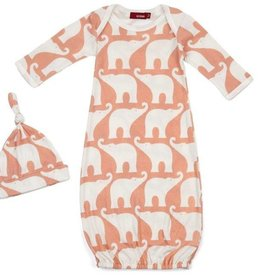 Milkbarn Gown and hat set Rose Elephant