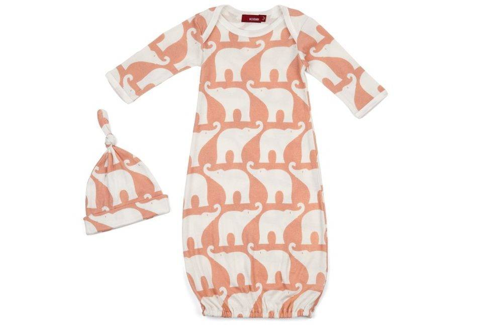 Milkbarn Gown and hat set Rose Elephant