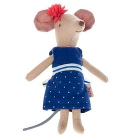 Maileg Mouse Big Sister Blue Dress in Box