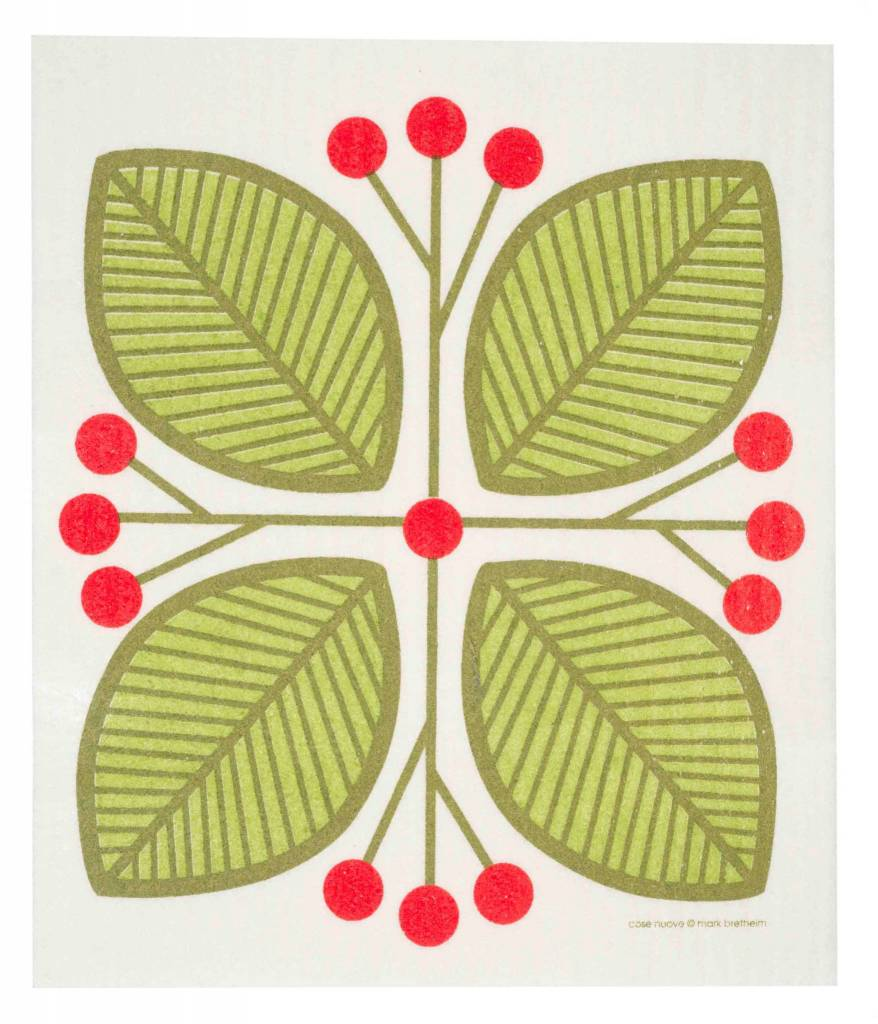 Cose Nuove Swedish Dischcloth Leaves & Berries Green