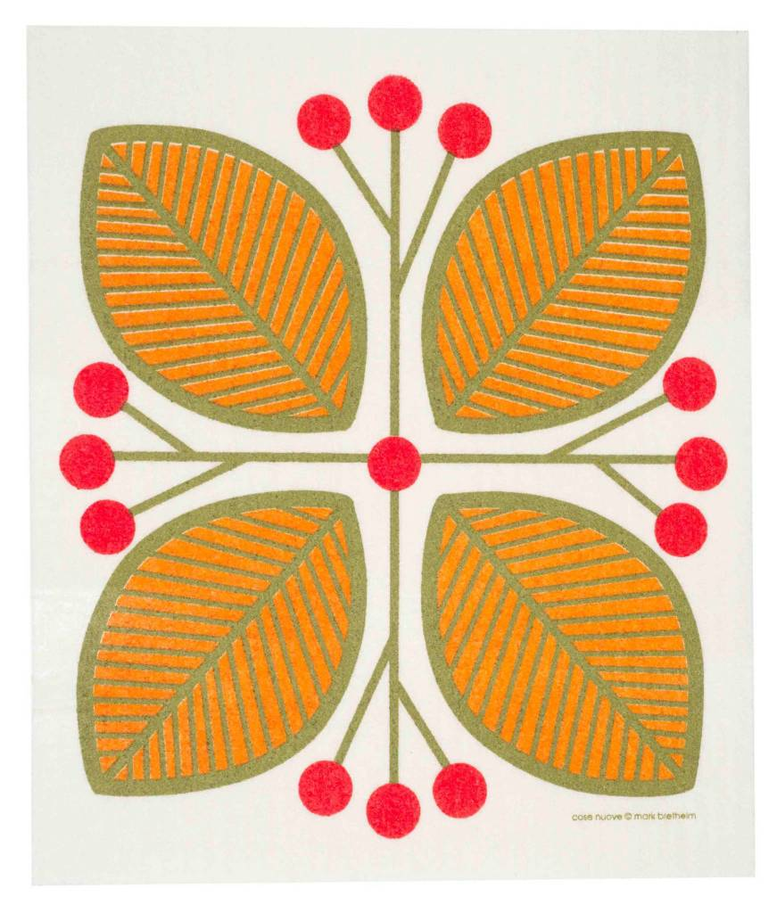 Cose Nuove Swedish Dischcloth Leaves & Berries Orange