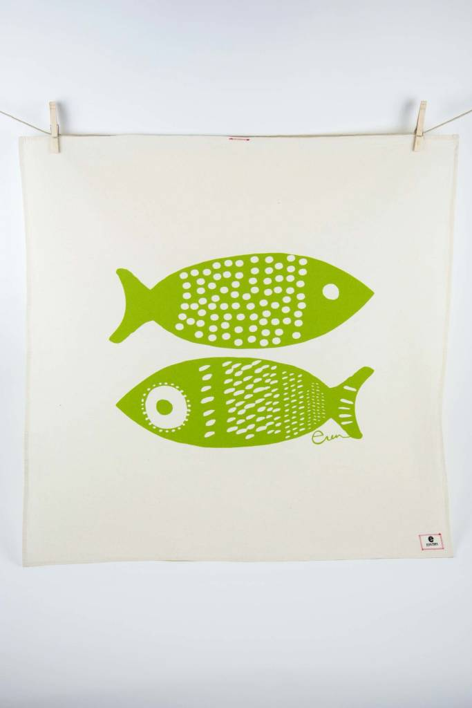 Erin Flett Tea Towel Vintage Green Double Tuna