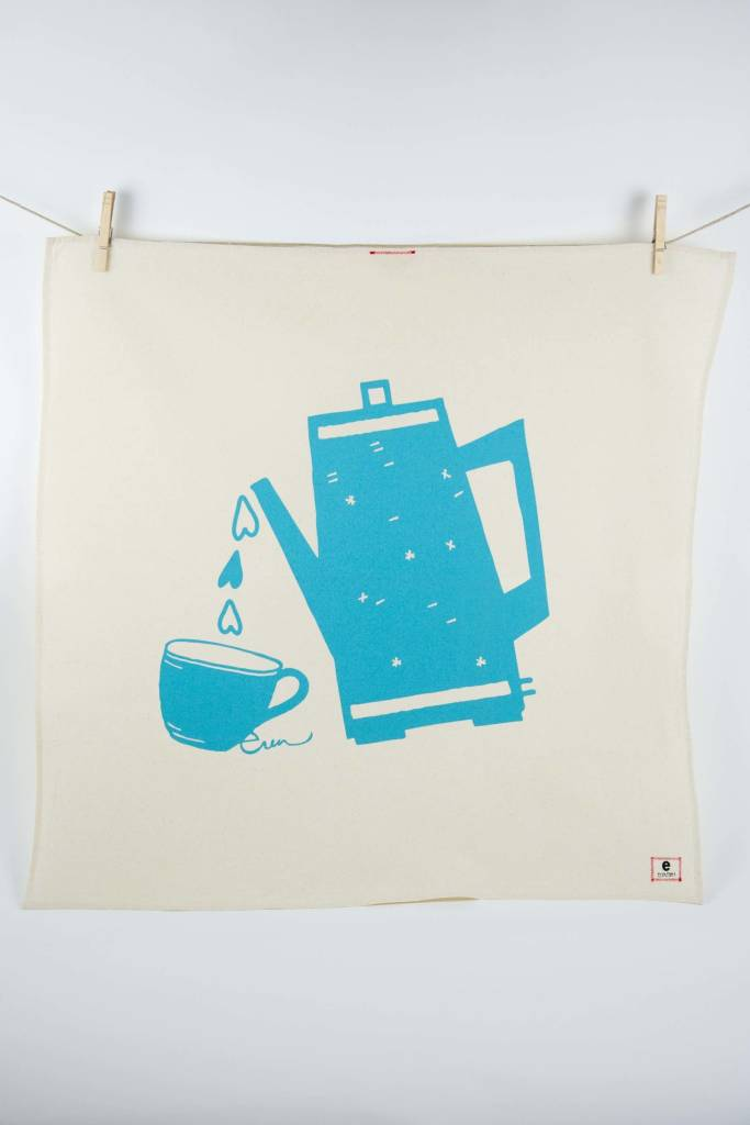 Erin Flett Tea Towel Sea Blue Coffee