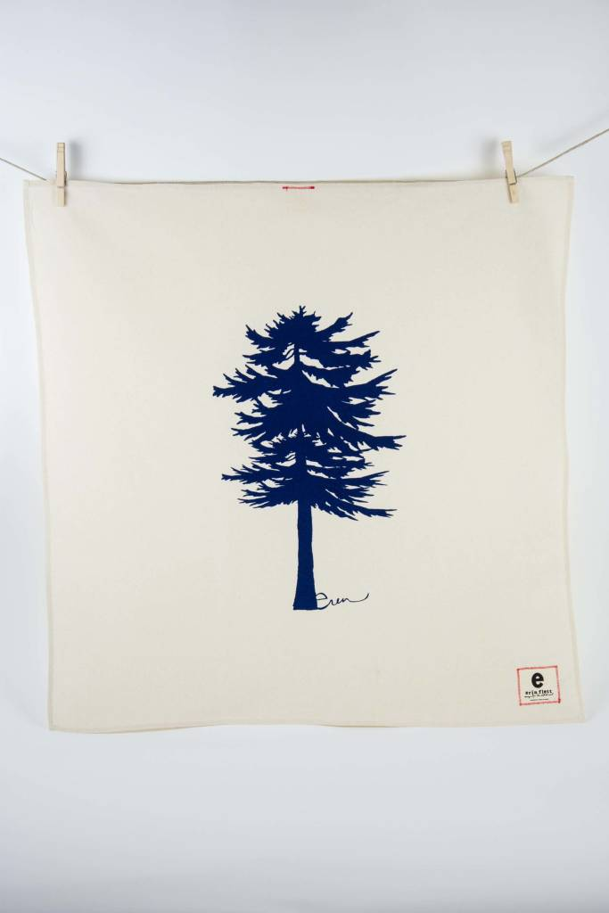 Erin Flett Tea Towel Navy Conifer