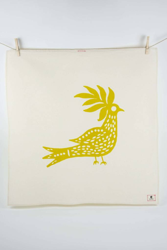 Erin Flett Tea Towel Golden Rod Peacock