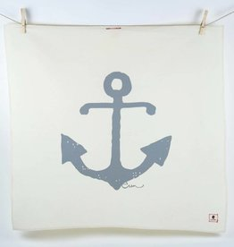 Erin Flett Tea Towel Gray Anchor