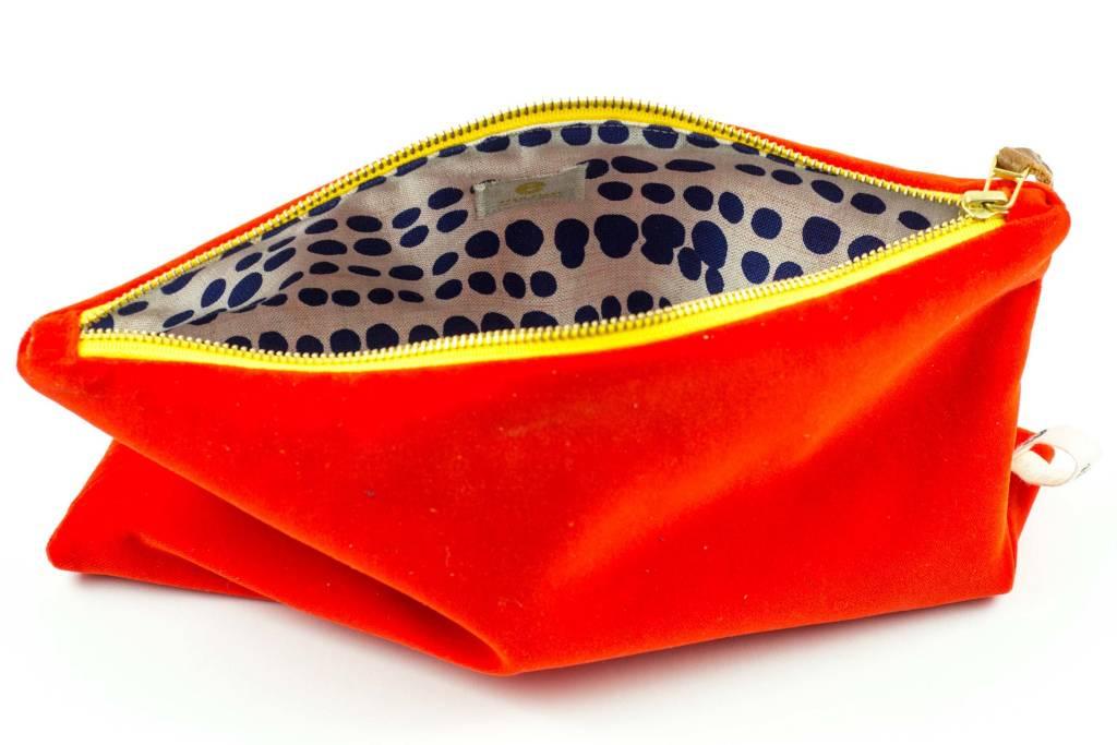 Erin Flett Velvet Clutch Tangerine