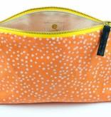 Erin Flett Zip Linen Makeup Bag Mango Polka Dots